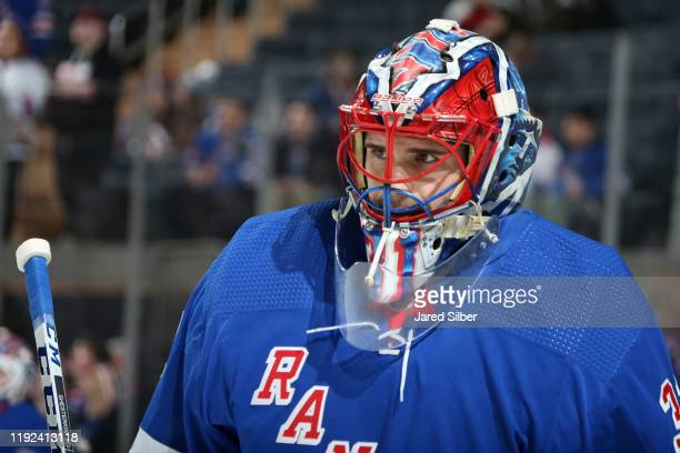 Igor Shesterkin of the New York Rangers looks on during warmups prior to making his first career NHL start against the Colorado Avalanche at Madison...