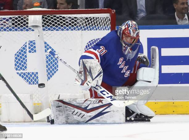 Igor Shesterkin of the New York Rangers makes the first period save against the Colorado Avalanche at Madison Square Garden on January 07 2020 in New...