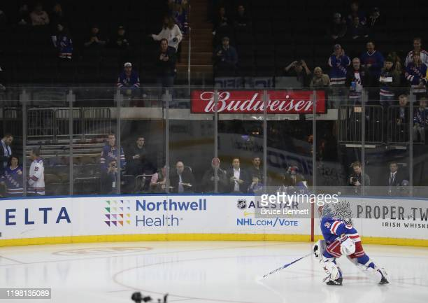 Igor Shesterkin of the New York Rangers skates a solo lap before warmups prior to playing in his first NHL game against the Colorado Avalanche at...