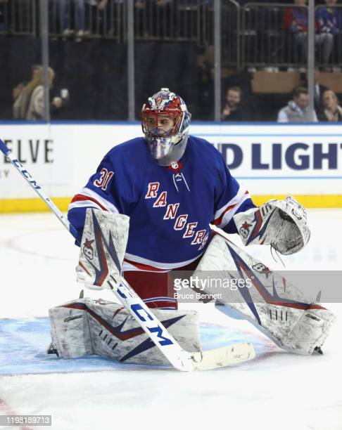 Igor Shesterkin of the New York Rangers skates in his first NHL game against the Colorado Avalanche at Madison Square Garden on January 07 2020 in...