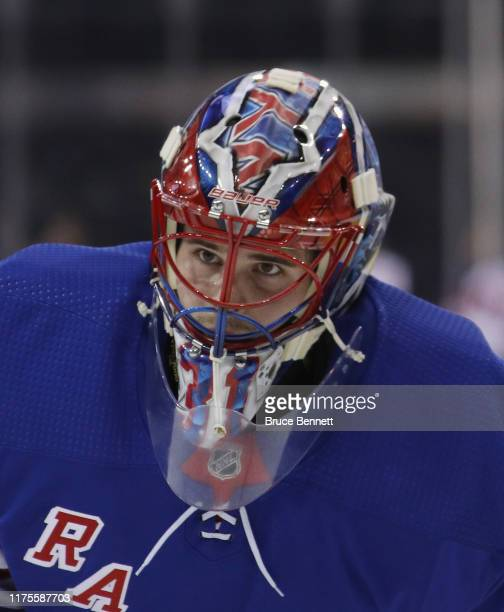 Igor Shesterkin of the New York Rangers skates in warmups prior to the game against the New Jersey Devils at Madison Square Garden on September 18...