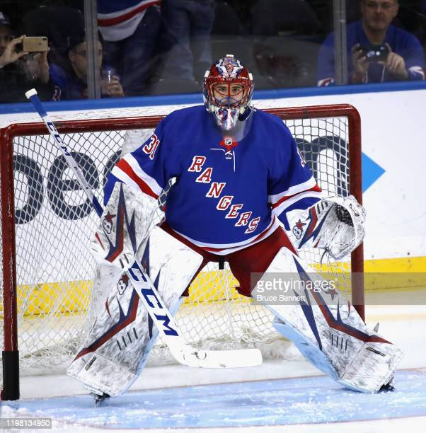 Igor Shesterkin of the New York Rangers skates in warmups prior to the game against prior to playing in his first NHL game against the Colorado...