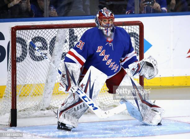 Igor Shesterkin of the New York Rangers skates in warmups prior to playing in his first NHL game against the Colorado Avalanche at Madison Square...