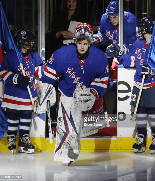 Igor Shesterkin of the New York Rangers skates out to play against the Colorado Avalanche his first NHL game at Madison Square Garden on January 07...