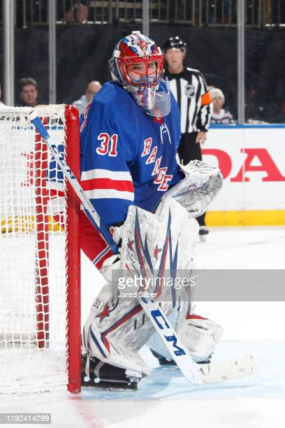 Igor Shesterkin of the New York Rangers tend the net against the Colorado Avalanche at Madison Square Garden on January 07 2019 in New York City