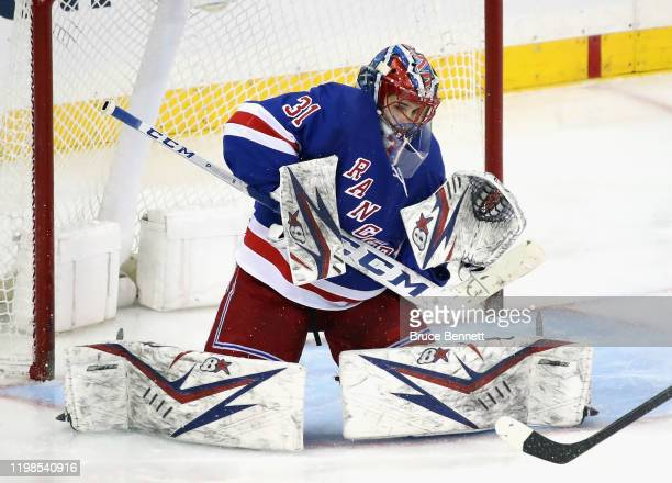 Igor Shesterkin of the New York Rangers tends net against the New Jersey Devils during the third period at Madison Square Garden on January 09 2020...