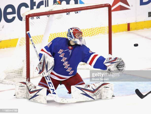 Igor Shesterkin of the New York Rangers tends net against the New Jersey Devils during the first period at Madison Square Garden on January 09 2020...