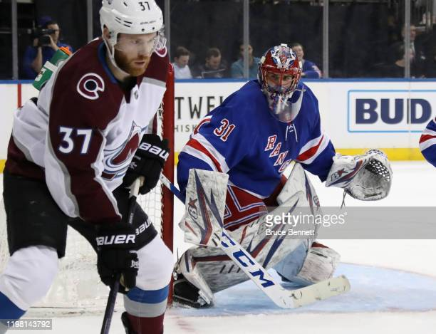 Igor Shesterkin of the New York Rangers tends net against the Colorado Avalanche while playing in his first NHL game at Madison Square Garden on...