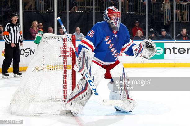 Igor Shesterkin of the New York Rangers tends the net against the Colorado Avalanche at Madison Square Garden on January 07 2019 in New York City