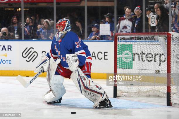 Igor Shesterkin of the New York Rangers tends the net during warmups prior to making his first career NHL start against the Colorado Avalanche at...