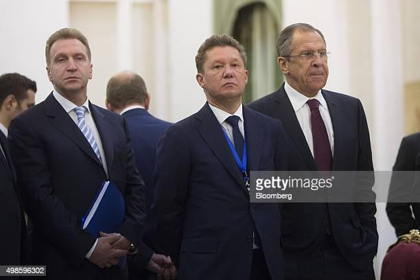 Igor Shuvalov Russia's first deputy prime minister left Alexei Miller chief executive officer of OAO Gazprom center and Sergei Lavrov Russia's...