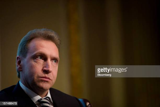 Igor Shuvalov Russia's first deputy prime minister listens during a panel discussion at the New York Stock Exchange in New York US on Monday Dec 3...