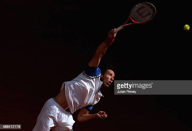 Igor Sijsling of Holland serves to Tommy Haas of Germany during day four of the Mutua Madrid Open tennis tournament at the Caja Magica on May 6 2014...