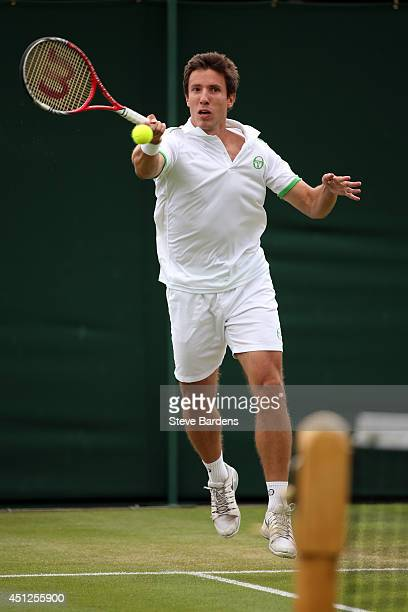 Igor Sijsling of Netherlands during his Gentlemen's Doubles first round match with Roberto Bautista Agut of Spain against Sergiy Stakhovsky of...