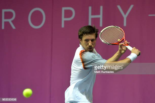 Igor Sijsling of Netherlands in action during his singles match against Bernabe Zapata Miralles of Spain on the fourth day of The Glasgow Trophy at...