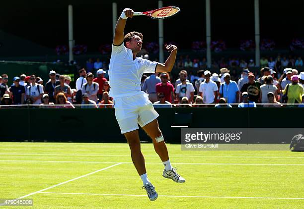 Igor Sijsling of Netherlands in action in his Gentlemens Singles first round match against Sam Querry of the United States during day two of the...