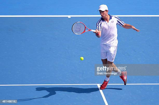 Igor Sijsling of Netherlands plays a forehand shot in his first round match against Bernard Tomic of Australia during day three of the Sydney...