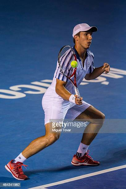 Igor Sijsling of Netherlands returns the ball during a male single match against David Ferrer of Spain as part of Telcel Mexican Open 2015 day 2 at...