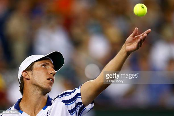 Igor Sijsling of Netherlands serves to Rafael Nadal of Spain during day seven of the BNP Paribas Open tennis at the Indian Wells Tennis Garden on...