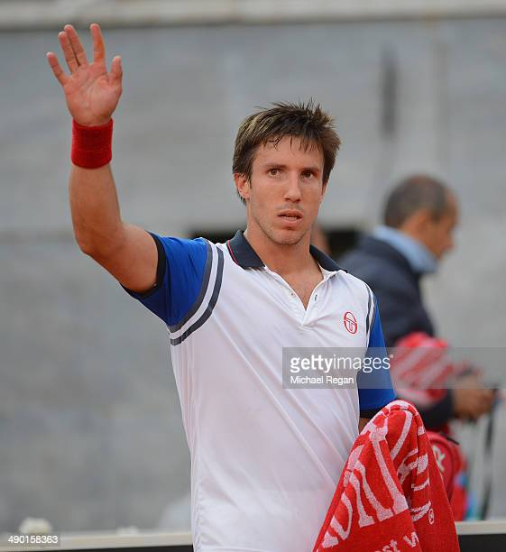 Igor Sijsling of the Netherlands celebrates after beating Marco Cecchinato of Italy during day 3 of the Internazionali BNL d'Italia 2014 on May 13...