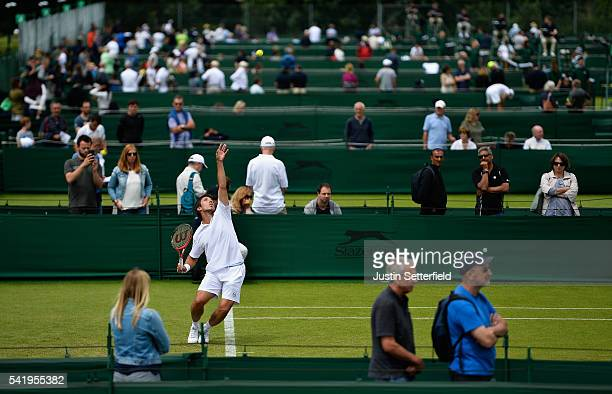 Igor Sijsling of the Netherlands in action against Nils Langer of Germany during the 2016 Wimbledon Qualifying Session on June 21 2016 in London...
