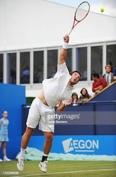 Igor Sijsling of the Netherlands serves during his Men's Singles first round match against Tatsuma Ito of Japan on day one of the AEGON Championships...