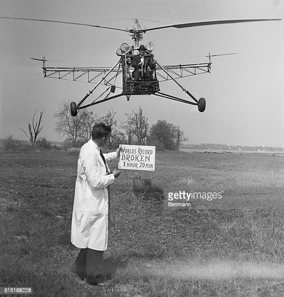 Igor Sikorsky famous plane designer sets a new endurance record for helicopter planes with a flight of one hour 32 minutes and 25 seconds during...