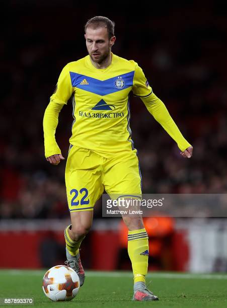 Igor Stasevich of BATE Borisov in action during the UEFA Europa League group H match between Arsenal FC and BATE Borisov at Emirates Stadium on...