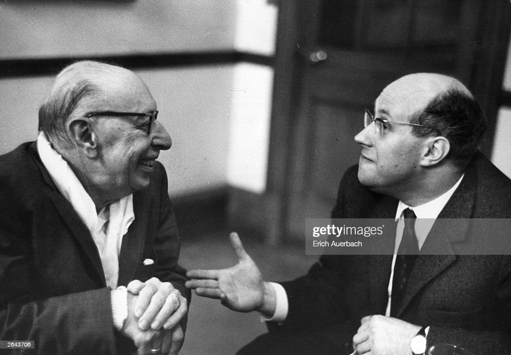 Igor Stravinsky (1882 - 1971) the Russian composer is in conversation with Mstislav Rostropovich (1927 - ) the Russian cellist and composer.