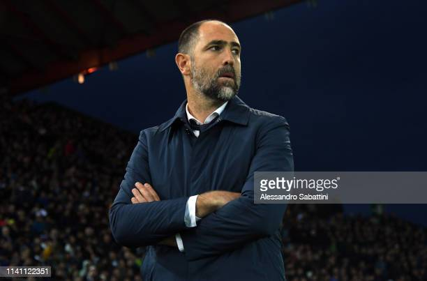 Igor Tudor head coach of Udinese Calcio looks on during the Serie A match between Udinese and FC Internazionale at Stadio Friuli on May 4, 2019 in...