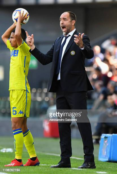 Igor Tudor head coach of Udinese Calcio reacts during the Serie A match between Udinese and US Sassuolo at Stadio Friuli on April 20 2019 in Udine...