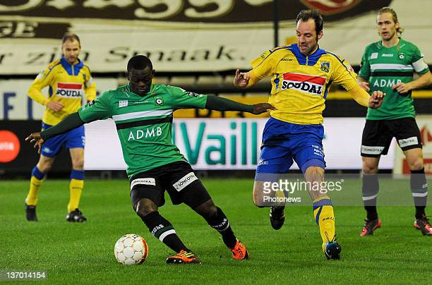 Igor Vetokele of Brugge and Bart Goor of Westerlo compete for the ball during the Jupiler League match between Cercle Brugge and Westerlo on January...