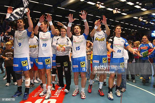 Igor Vori Krzystof Lijewski Per Sandstroem Guillaume Gille Pascal Hens and Hans Lindberg of Hamburg celebrate the 3425 victory after the Handball...