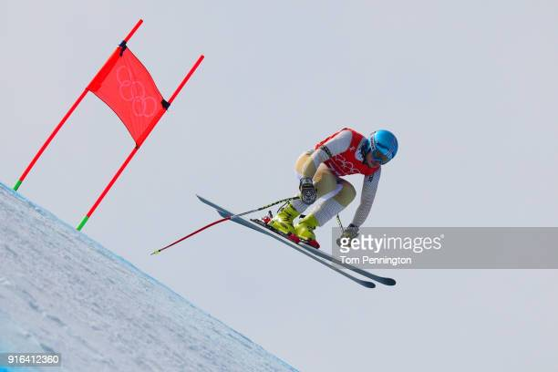 Igor Zakurdaev of Kazakhstan makes a run during the Men's Downhill 3rd Training on day one of the PyeongChang 2018 Winter Olympic Games at Jeongseon...