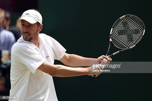 Igor Zelenay of Slovakia during his Gentlemen's Doubles first round match with Andreas Siljestrom of Sweden against JohnPatrick Smith of Australia...