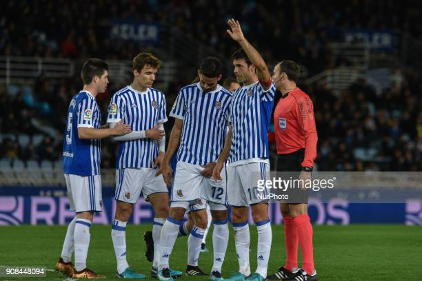 Igor Zubeldia Diego Llorente Willian Jose and Xabi Prieto of Real Sociedad during the Spanish league football match between Real Sociedad and Celta...