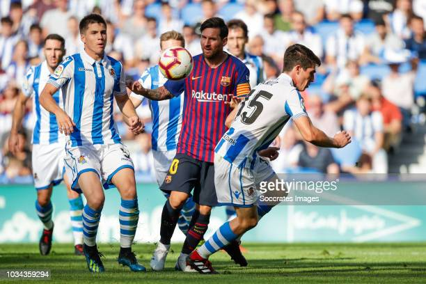 Igor Zubeldia of Real Sociedad Futbol Lionel Andres Messi of FC Barcelona Aritz Elustondo of Real Sociedad Futbol during the La Liga Santander match...