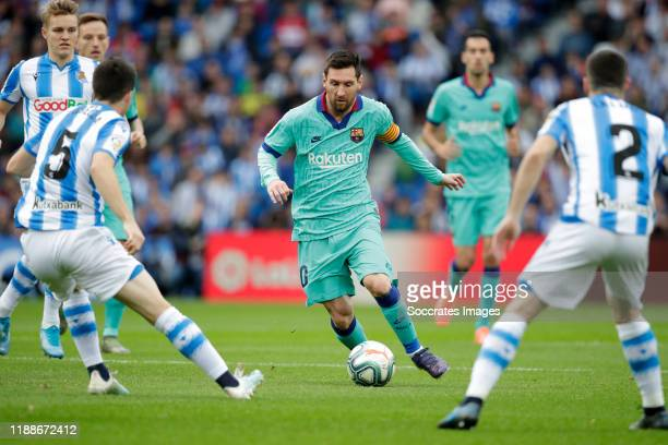 Igor Zubeldia of Real Sociedad Lionel Messi of FC Barcelona Joseba Zaldua of Real Sociedad during the La Liga Santander match between Real Sociedad v...