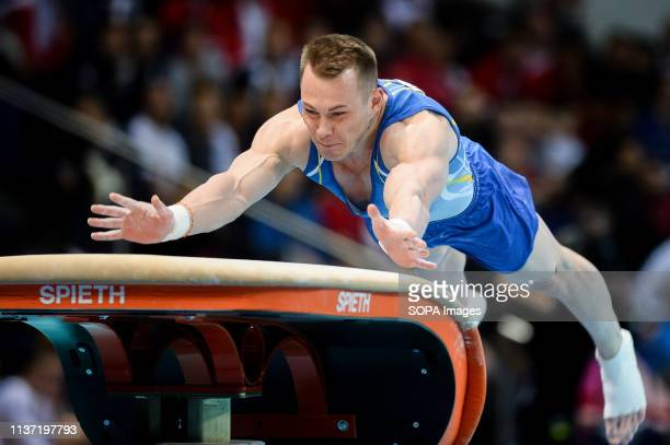 Igro Radivilov from Ukraine seen in action during the Apparatus Finals of 8th European Championships in Artistic Gymnastics