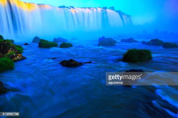 Iguacu impressive falls and green rainforest, Brazil Argentina, South America