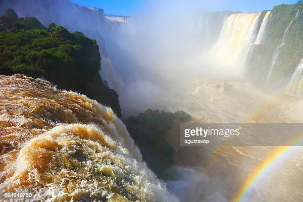 Iguacu impressive waterfalls rainbow, green rainforest, Brazil Argentina, South America
