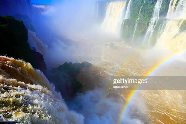 Iguacu impressive waterfalls rainbow, green rainforest, Brazil Argentina, South America