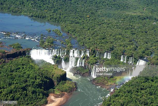 Iguazu falls from helicopter
