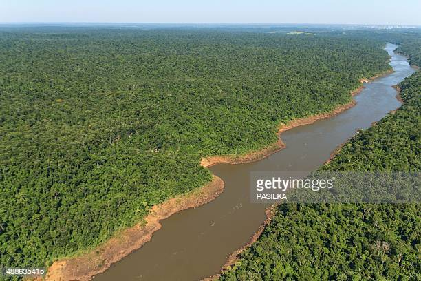 iguazu river, directly above iguazu falls - parana state stock pictures, royalty-free photos & images
