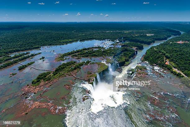 Iguazu waterfall seen from helicopter. Argentinian side on the left, Brazilian side on the right of the falls. Keywords: Landscape adventure america...