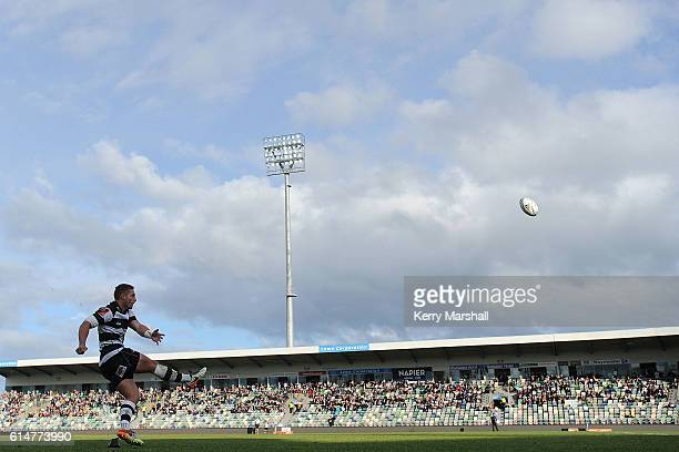 Ihaia West of Hawke's Bay kicks a conversion during the round nine Mitre 10 Cup match between Hawke's Bay and Bay of Plenty on October 15 2016 in...