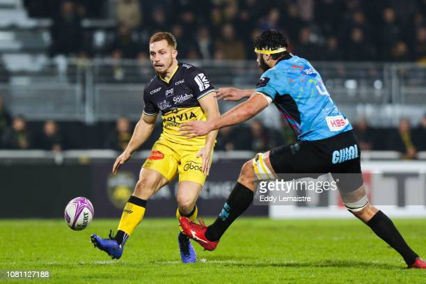 Ihaia West of La Rochelle and Samuele Ortis of Parme during the European Challenge Cup match between La Rochelle and Zebre at Stade Marcel Deflandre...