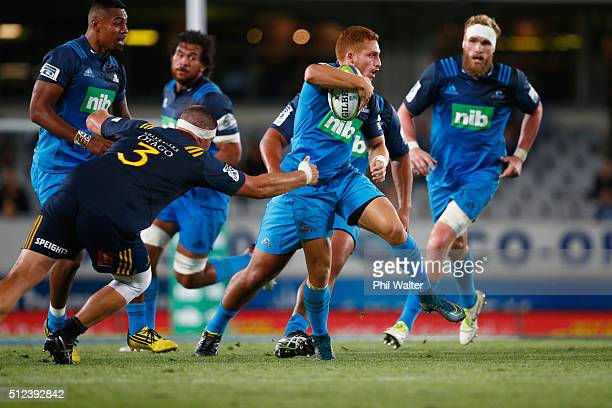 Ihaia West of the Blues makes a break during the round one Super Rugby match between the Blues and the Highlanders at Eden Park on February 26 2016...