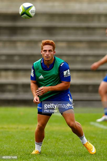 Ihaia West of the Blues passes during an Auckland Blues Super Rugby training session at Unitec on February 10 2015 in Auckland New Zealand