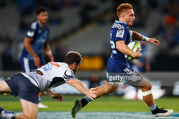 Ihaia West of the Blues runs in for a try during the round 12 Super Rugby match between the Blues and the Force at Eden Park on May 2 2015 in...